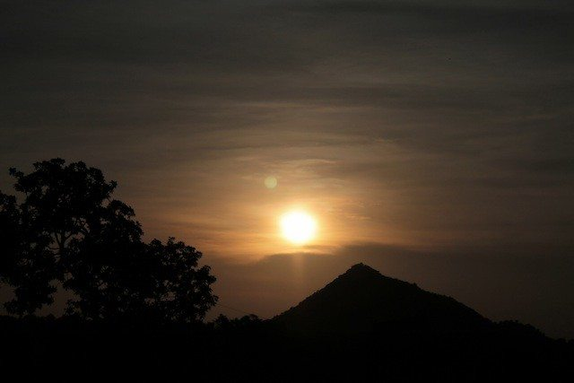 Sunset at Madhuban, keeping Parasnath hill in the background