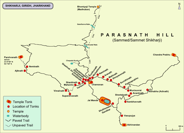 A locational map of tonks and temples in the Parasnath hill