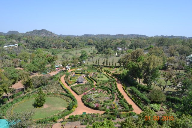 Pandav Caves-View of Garden from the top