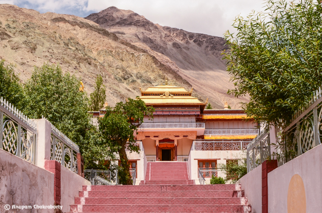 Wide red steps to the Monastery
