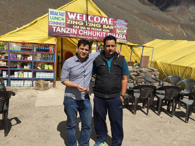 Utranchali and Himachali brothers - me and my friend Susheel, garlic in my hand.