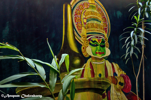 A painting of Kathakali Artist in the Kathakali Theatre