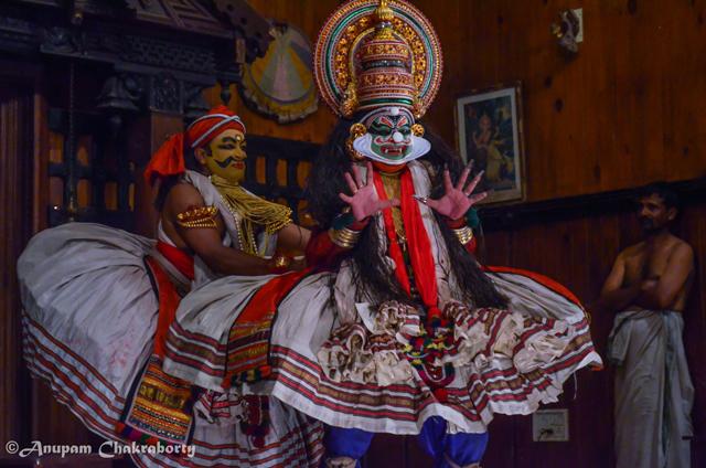 At midnight, in the dark dance hall Vallala was pounding Kichaka