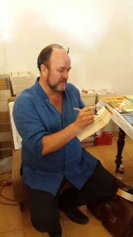 William Dalrymple signing copies for fans