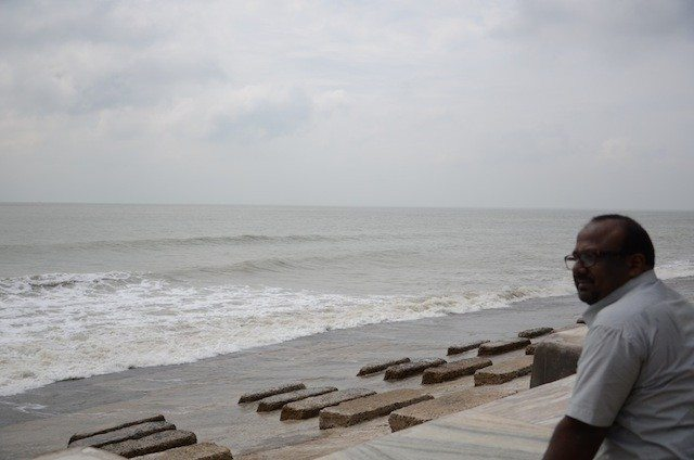 Anjan giving a pensive look towards the sea