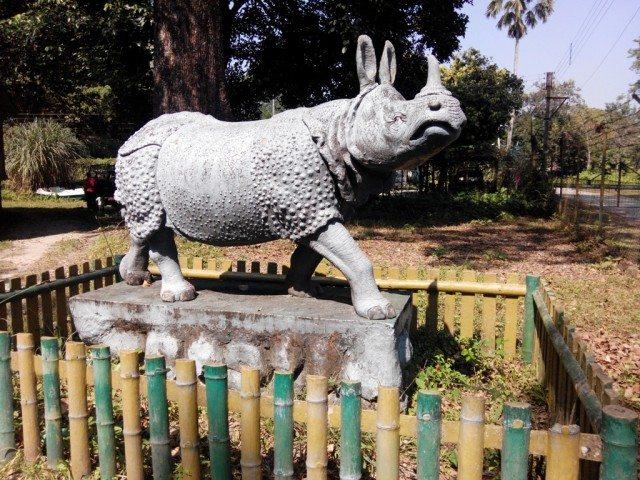 Statue of a rhino near Jaldapara booking office