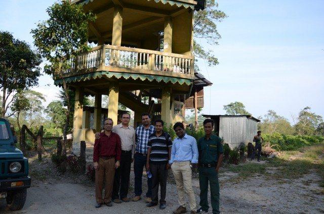 A cut from eternal flow of time : A group photo beside Jaldapara watchtower. From left Rajib, me, Yogendra, Tiku, Abhishek and our guide Bindu Barman