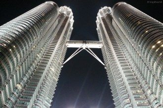 Twin towers - from the bottom-most possible
