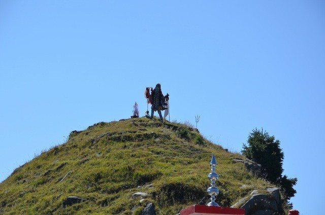 The idol of Kali mata ji on a nearby hill top