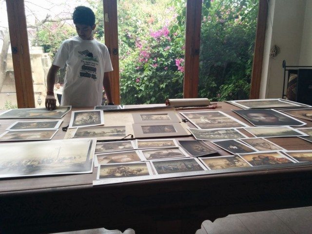 A table full of photographs