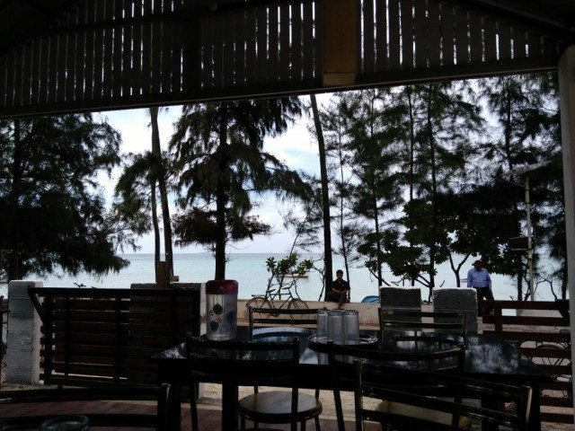 View of beach from the Cafe