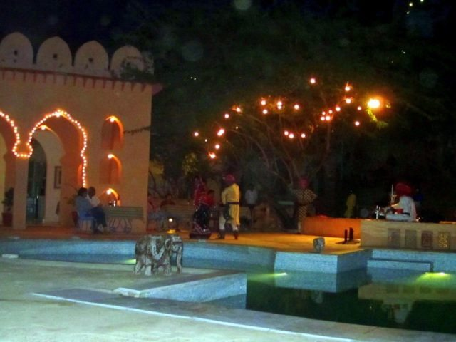 Performances near the pool in the evening