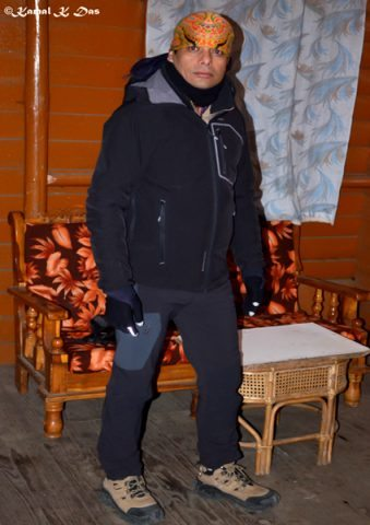At midnight in the guest house when I was getting ready for the trail with layers of cloth