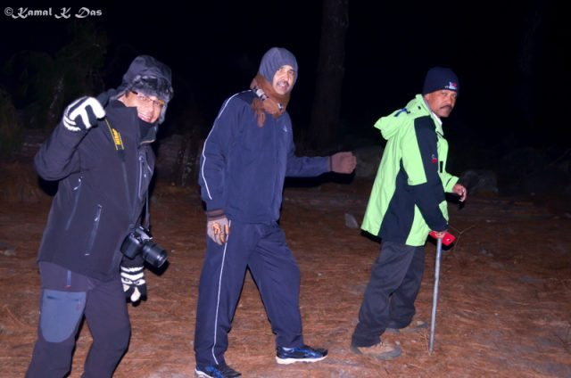 On the night trail to Dong. From the right my friend Prakash, Chandra and myself
