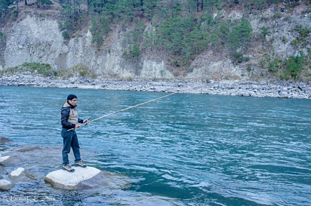 During our recce, we did angling too in the river Lohit
