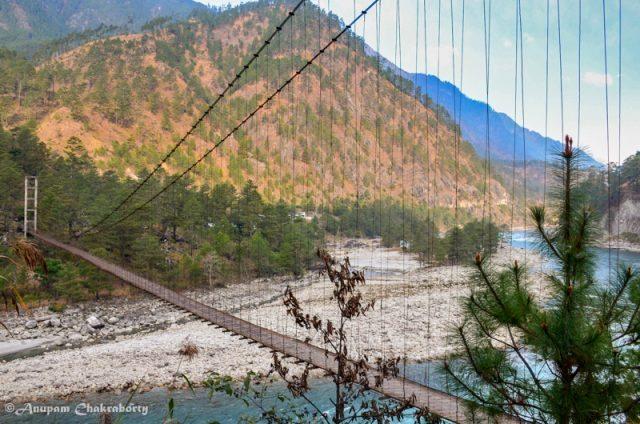The suspension bridge we crossed in the dark night