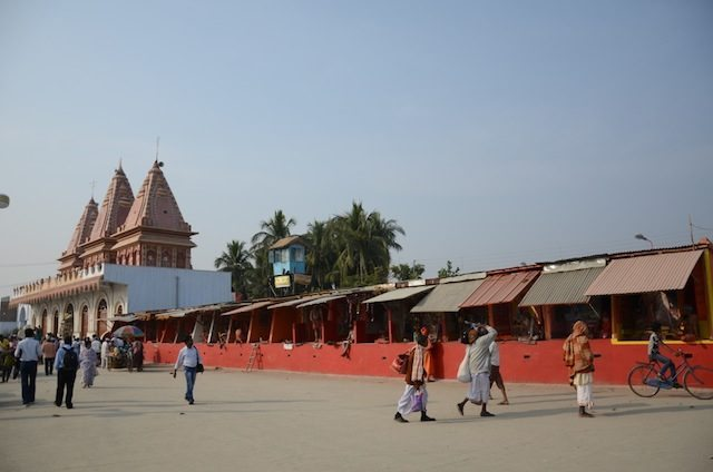 The Kapil Muni temple and the Akharas of Naga Sadhus in one frame