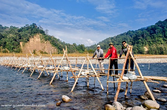 On a Bamboo Bridge over river Noa-Dihing at Namdapha National Park