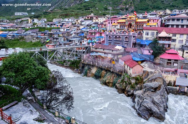 Badrinath Temple on the right bank of river Alakananda