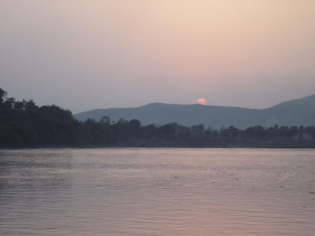 Sun sets over the Bramhaputra River