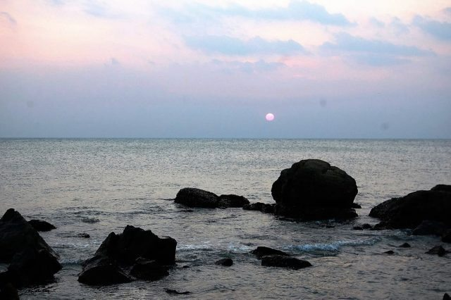 The sunset at hidden beach Kanyakumari