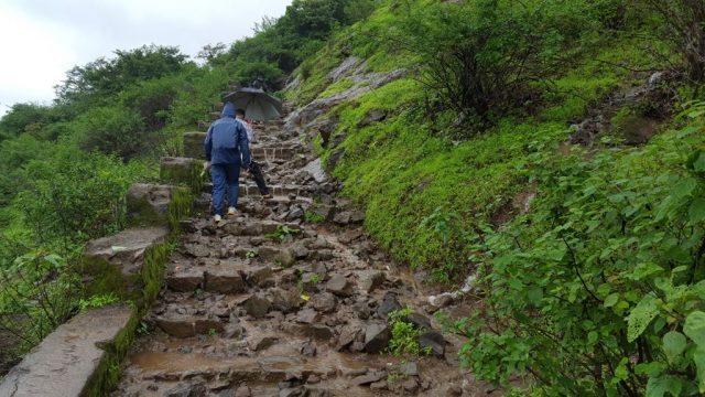 बरसात से गीली हुईं सीढियाँ