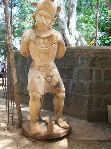 Wooden deity at Sita Agnipariksha