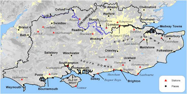 South East England on the map