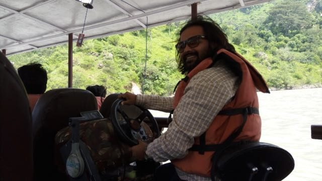 My Husband as boatdriver