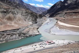 Confluence of Zanskar & Indus rivers
