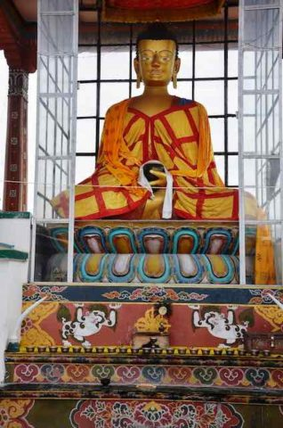 Statue of Lord Buddha in a monastery at Gelephu