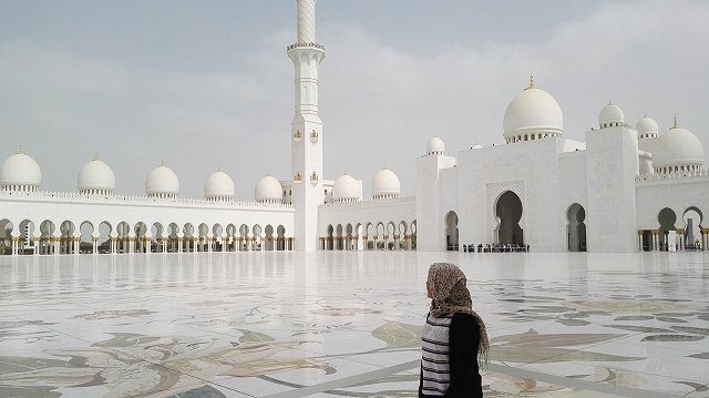 Admiring the grandeur of the mosque